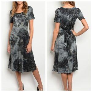 Black Marbled Tie Dye Tunic T-shirt Midi Dress